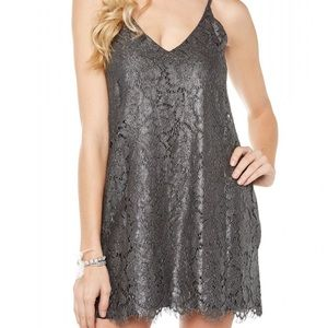 Chaser Gray Metallic Lace Cocktail Dress Size M